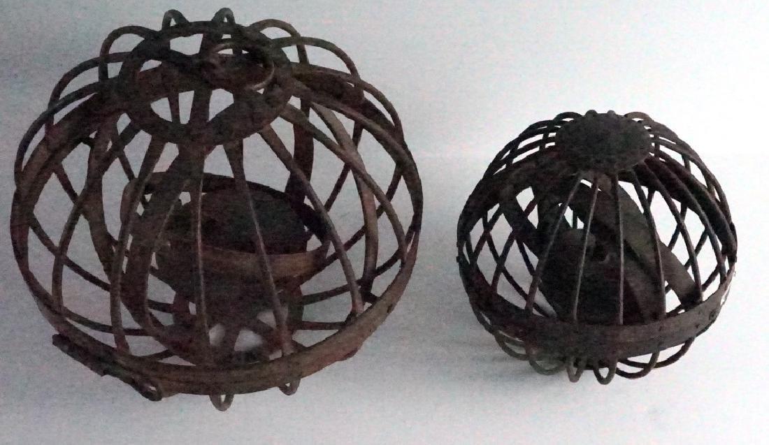 Rare Antique Triple Gimbal Iron Whaler Lanterns-2 - 2