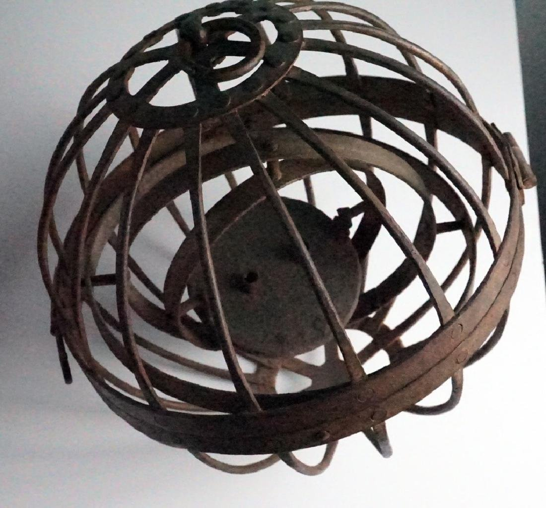 Rare Antique Triple Gimbal Iron Whaler Lanterns-2 - 3