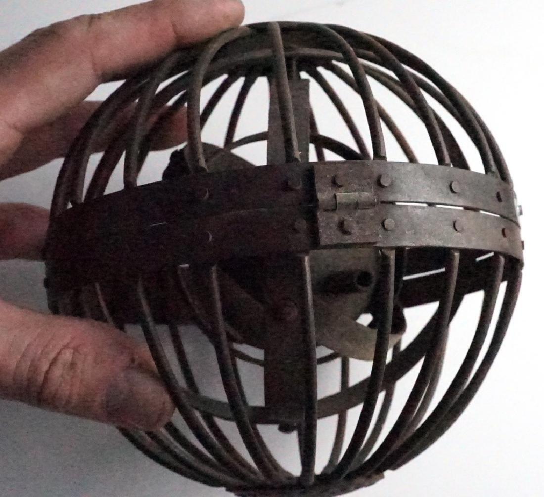 Rare Antique Triple Gimbal Iron Whaler Lanterns-2 - 6