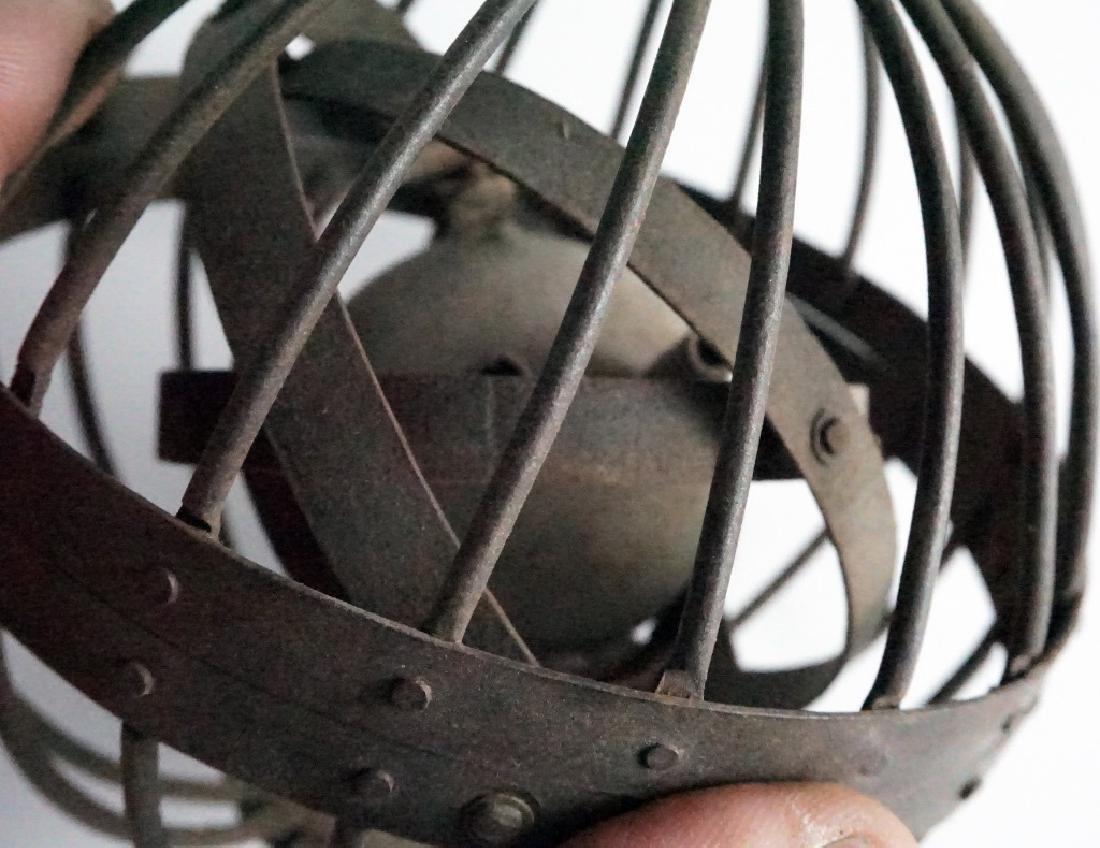 Rare Antique Triple Gimbal Iron Whaler Lanterns-2 - 8