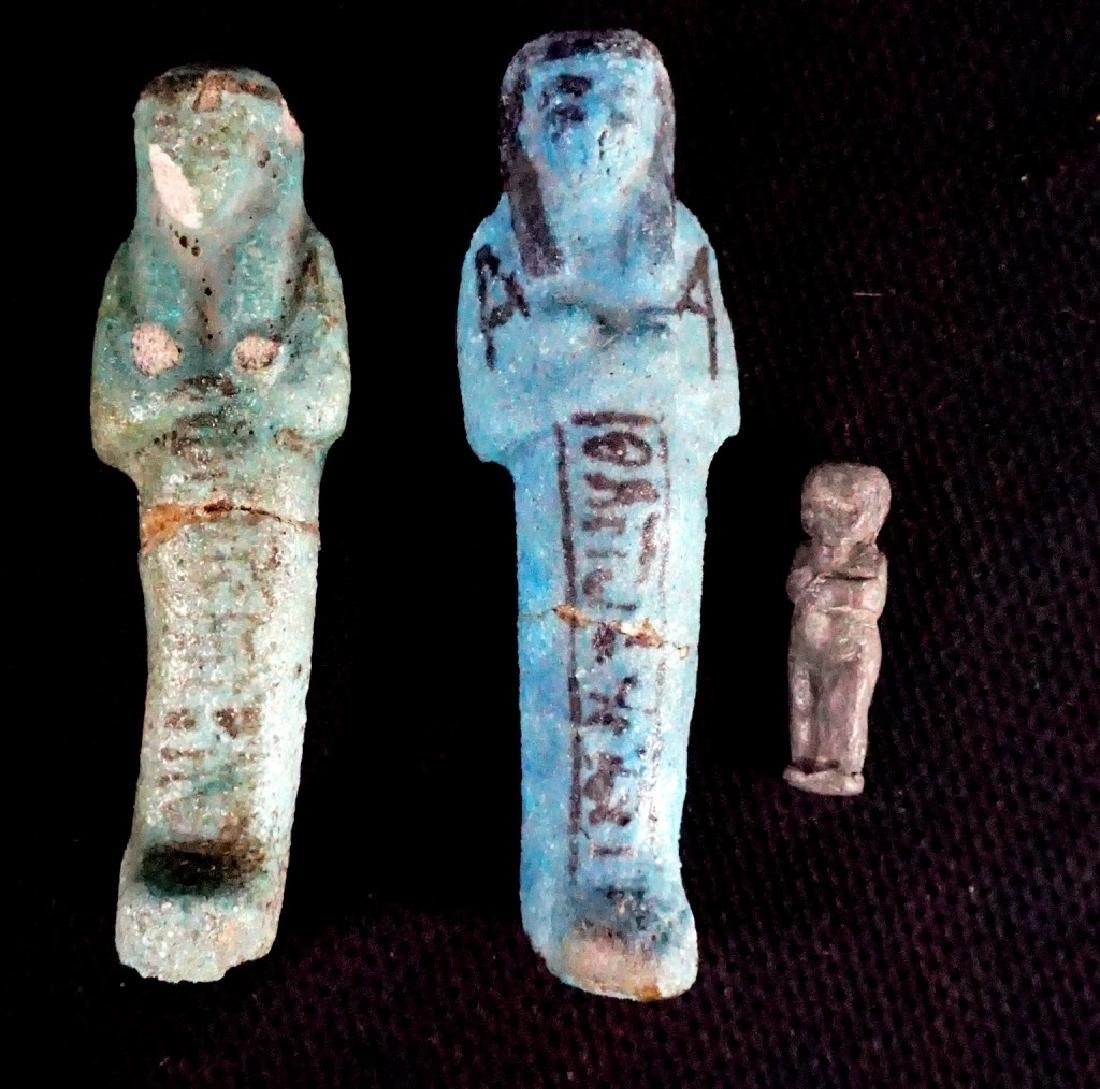 Two Egyptian, Faience Ushabti & One Bronze Figures