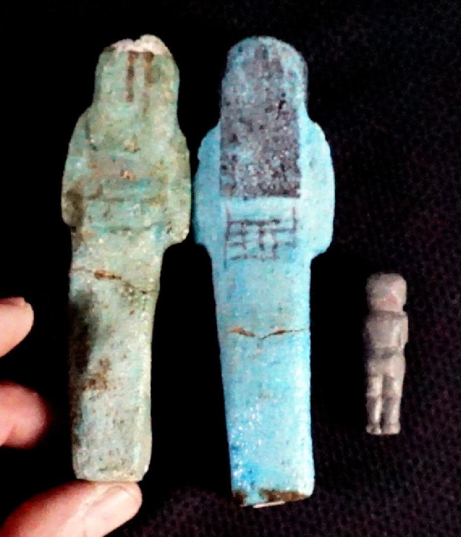 Two Egyptian, Faience Ushabti & One Bronze Figures - 2