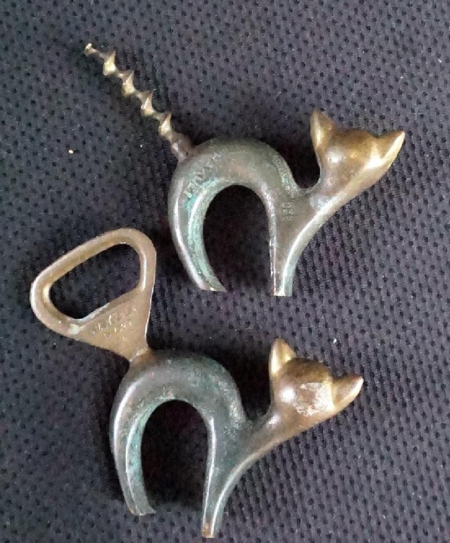 Vintage Hakuli Israel Bronze Cat Bottle Openers - 2