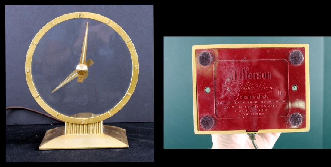 Jefferson Golden Mystery Clock, Mid-Century Modern