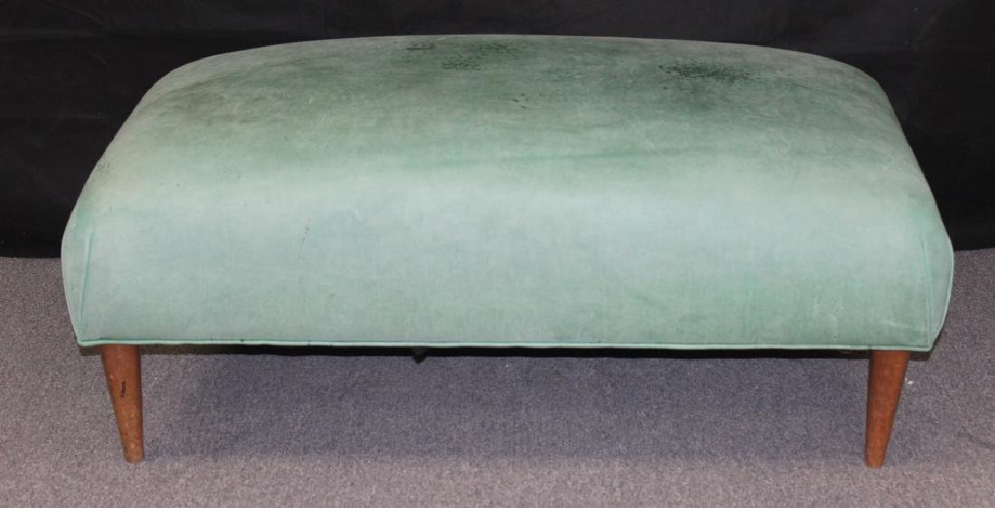 Leather Hassock, Marine Green