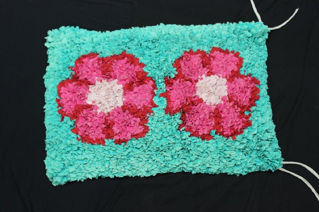 "Brazilian Handmade Rag Rug ""Pink Flowers"""