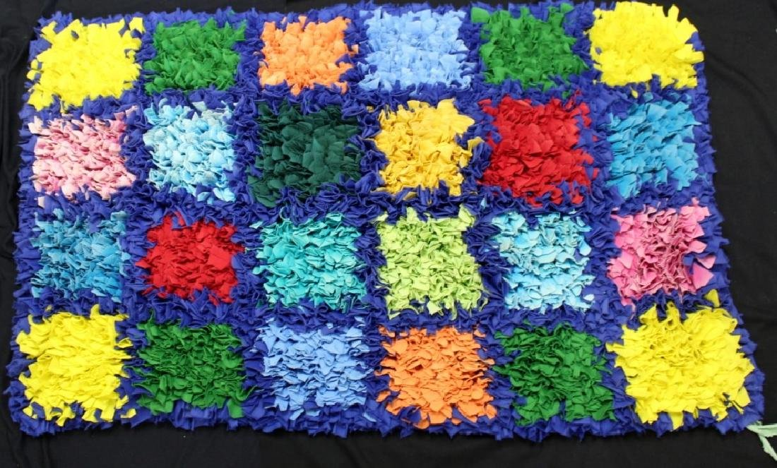 "Brazilian Handmade Rag Rug ""24 Checker Squares"""