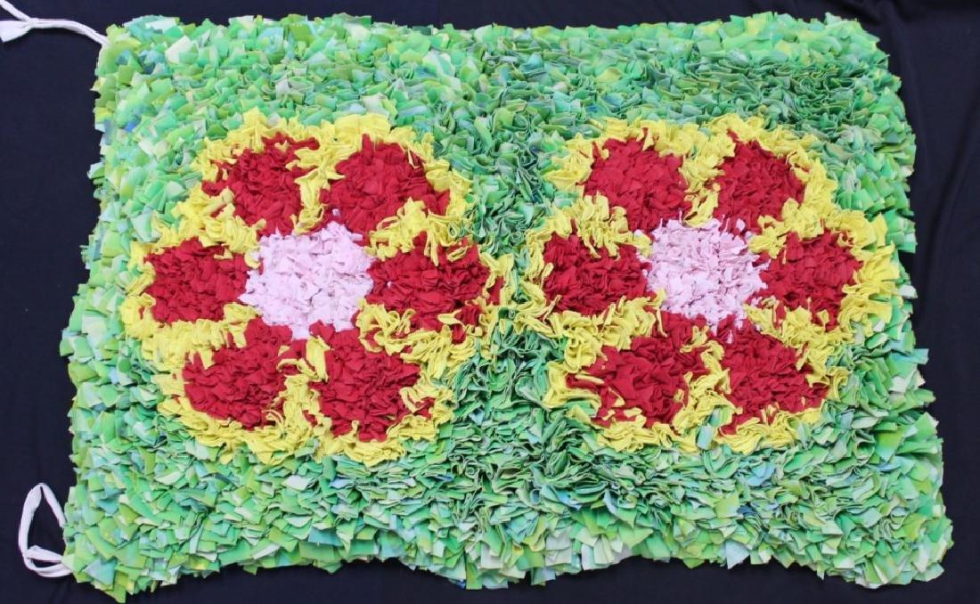 "Brazilian Handmade Rag Rug ""Red Flowers"""