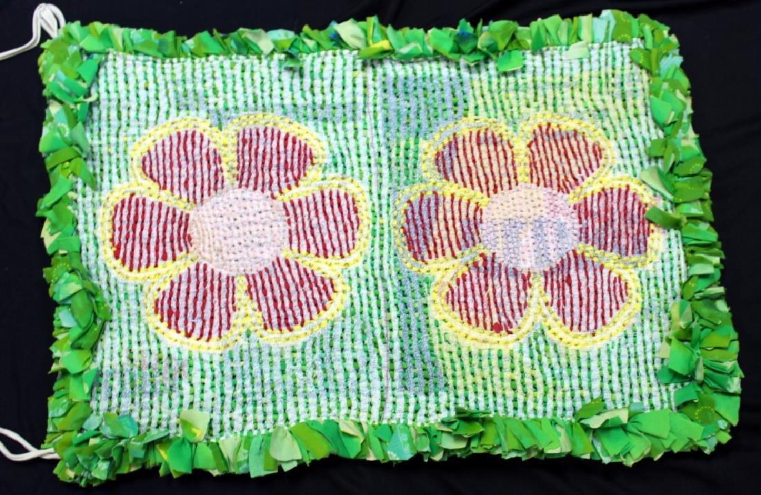 "Brazilian Handmade Rag Rug ""Red Flowers"" - 2"