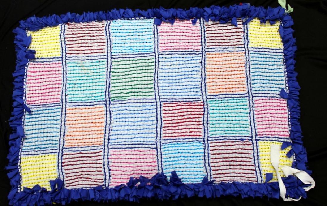 "Brazilian Handmade Rag Rug ""24 Checker Squares #2"" - 2"