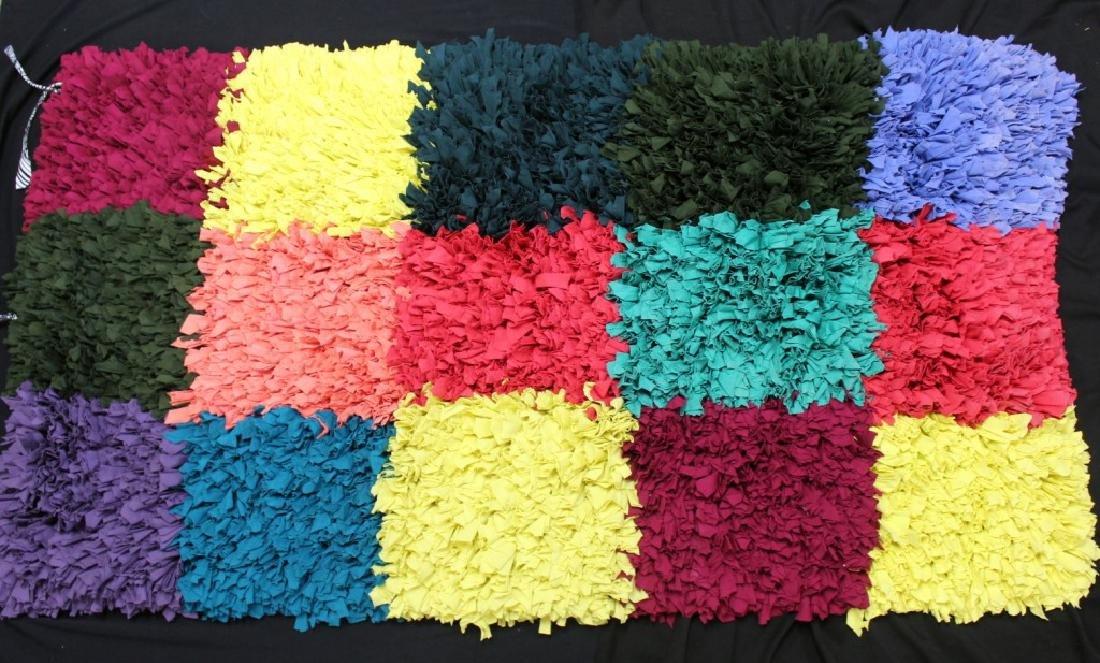 "Large Brazilian Handmade Rag Rug ""15 Squares"""