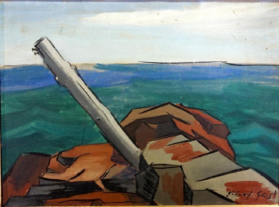 Sidney Geist Oil on Board Seascape  (1914-2005)