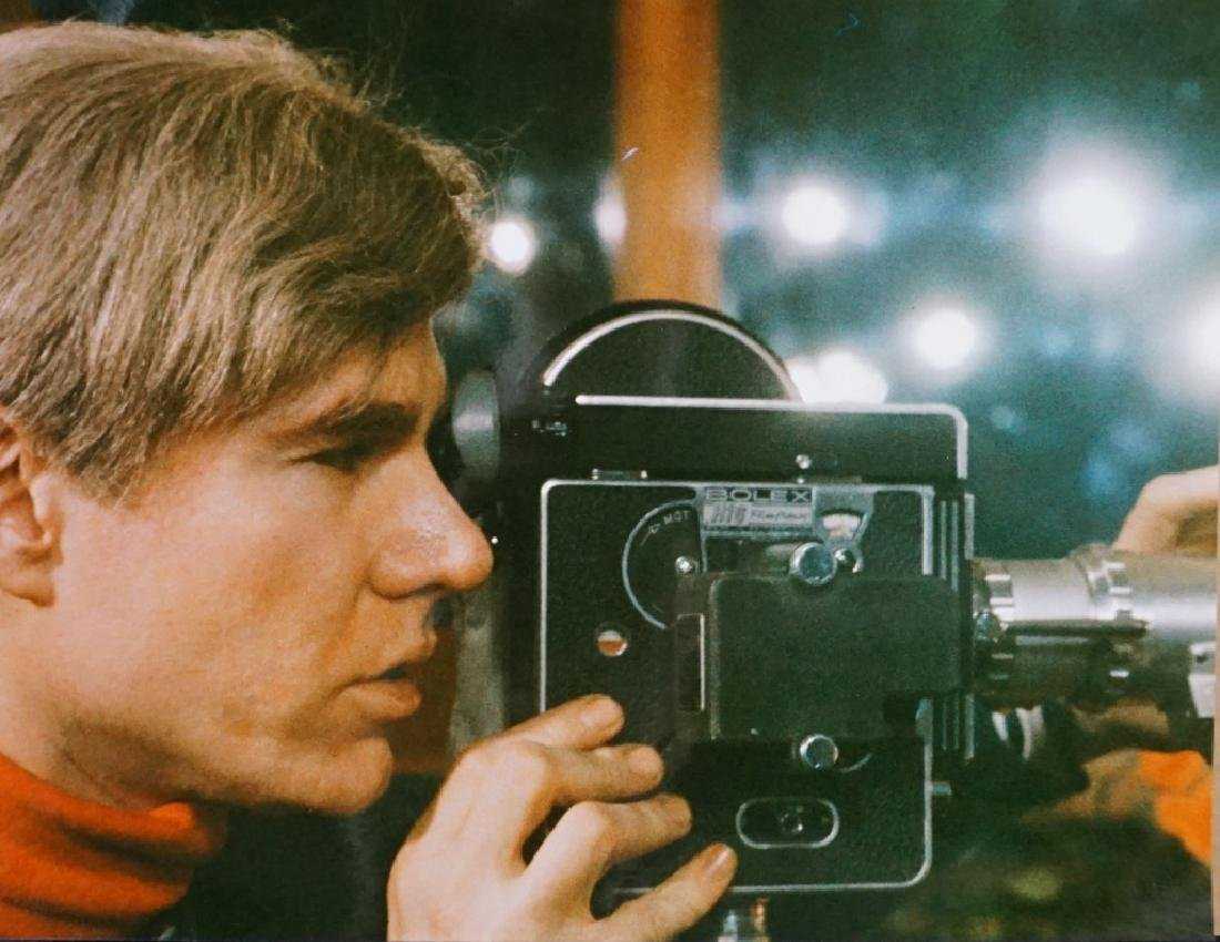 Andy Warhol Filming with Bolex, Signed Photograph