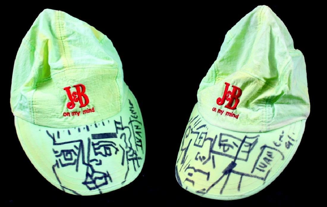 Ivan Jensen Drawings on J&B Whiskey Hats (2)
