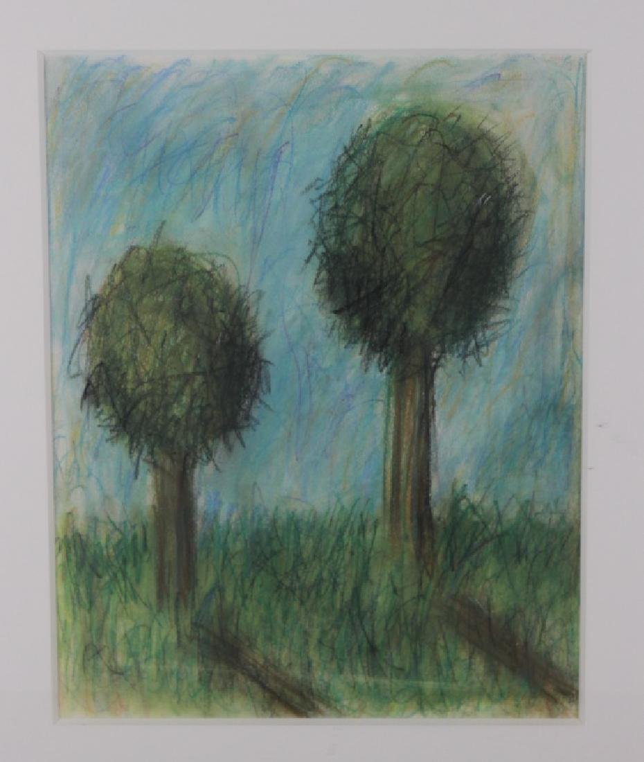 Tama Janowitz Pastel Two Trees - 2