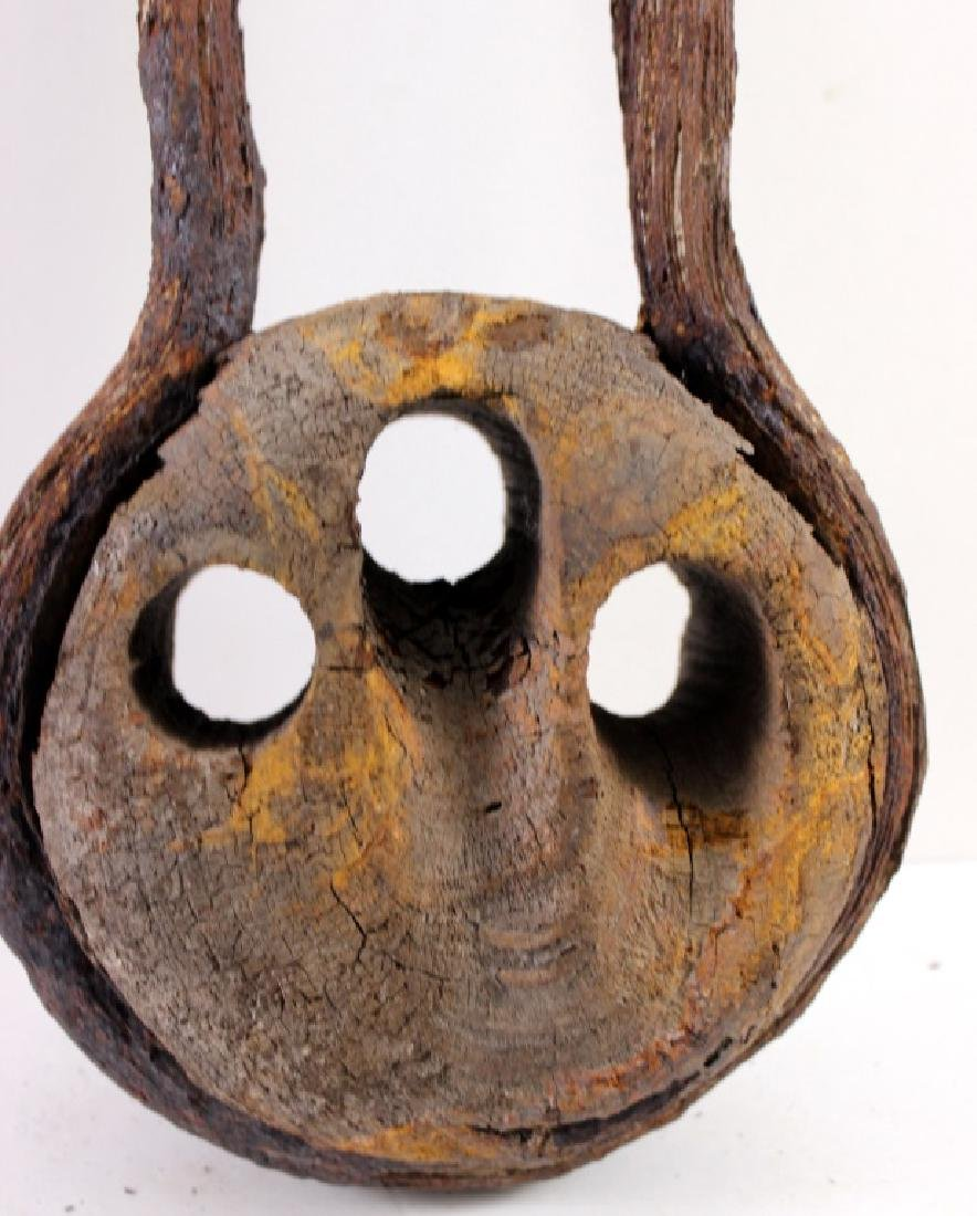 Antique Wooden Block and Tackle Sculpture - 6