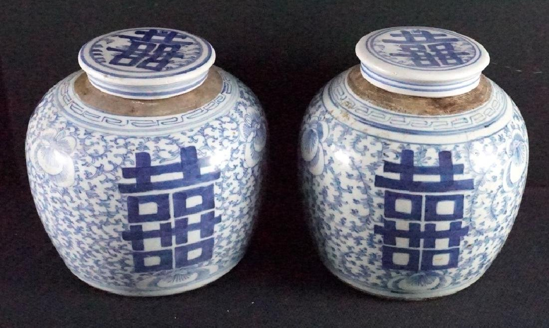 2 Late Qing Chinese Blue & White Ginger Jars