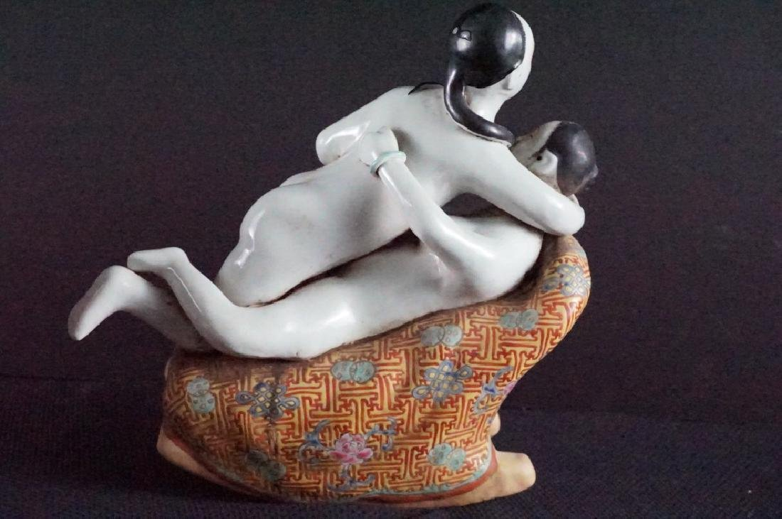 Vintage Asian Chinese Porcelain Erotic Statue - 3