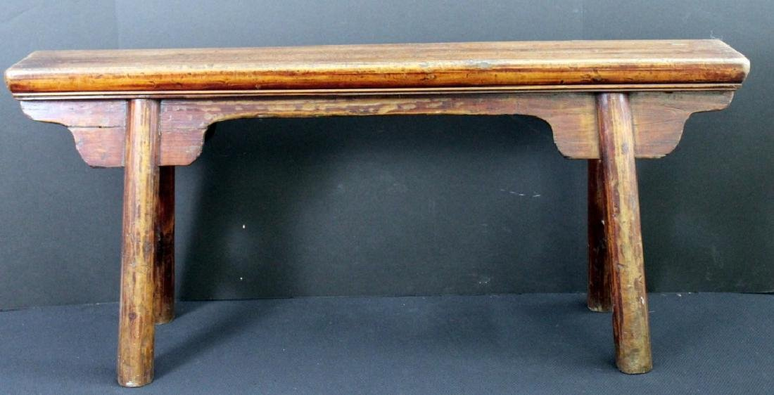 Antique Chinese Wood Bench - 2