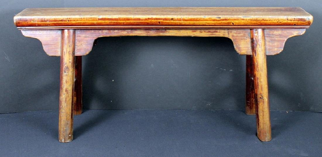 Antique Chinese Wood Bench - 5