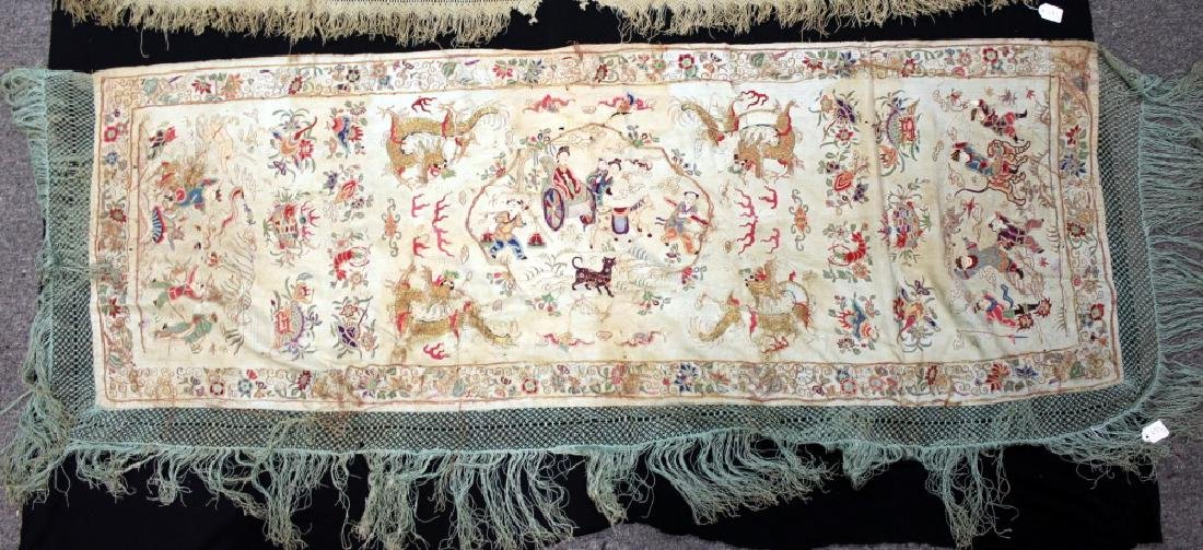 Chinese/Asian Hand Embroidered Shawls - 2