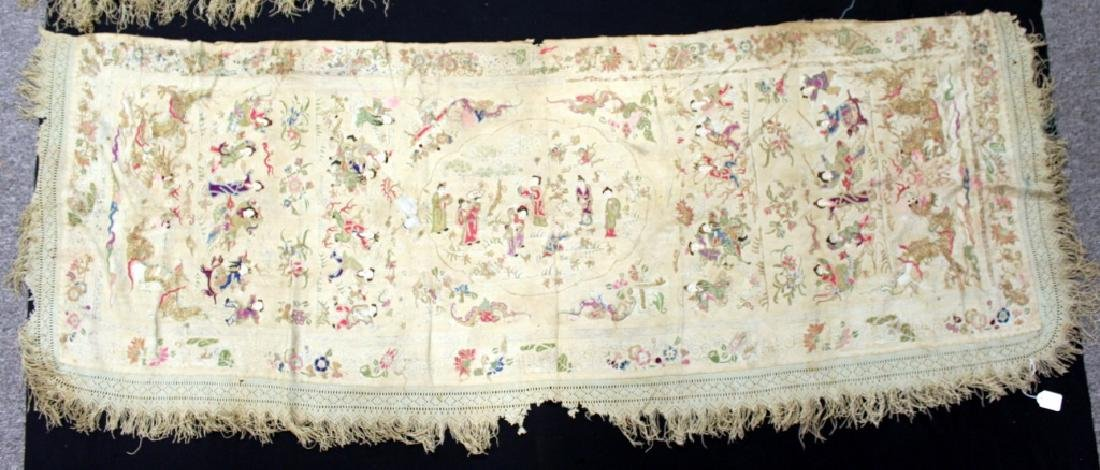 Chinese/Asian Hand Embroidered Shawls - 4
