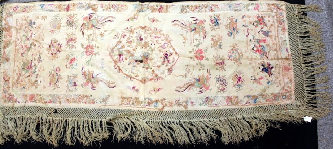 Chinese/Asian Hand Embroidered Shawls - 6