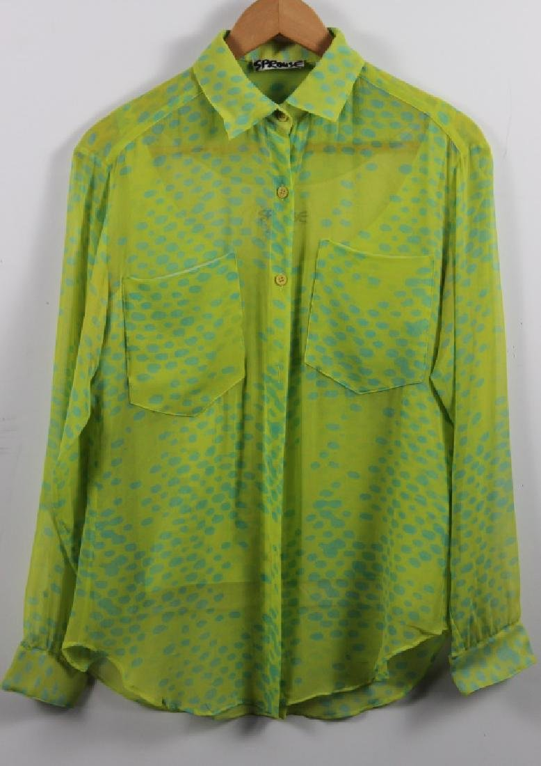 Stephen Sprouse Chartreuse Green Blouse & Pants - 3