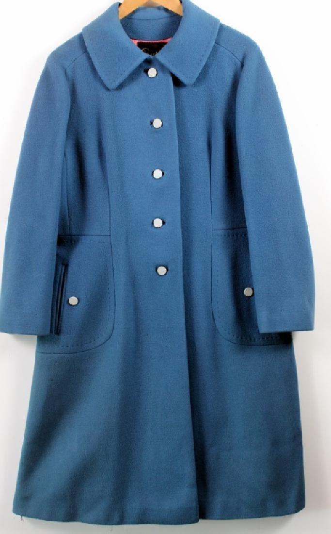 Vintage Lorendale Blue Outer Coat 100% Cashmere