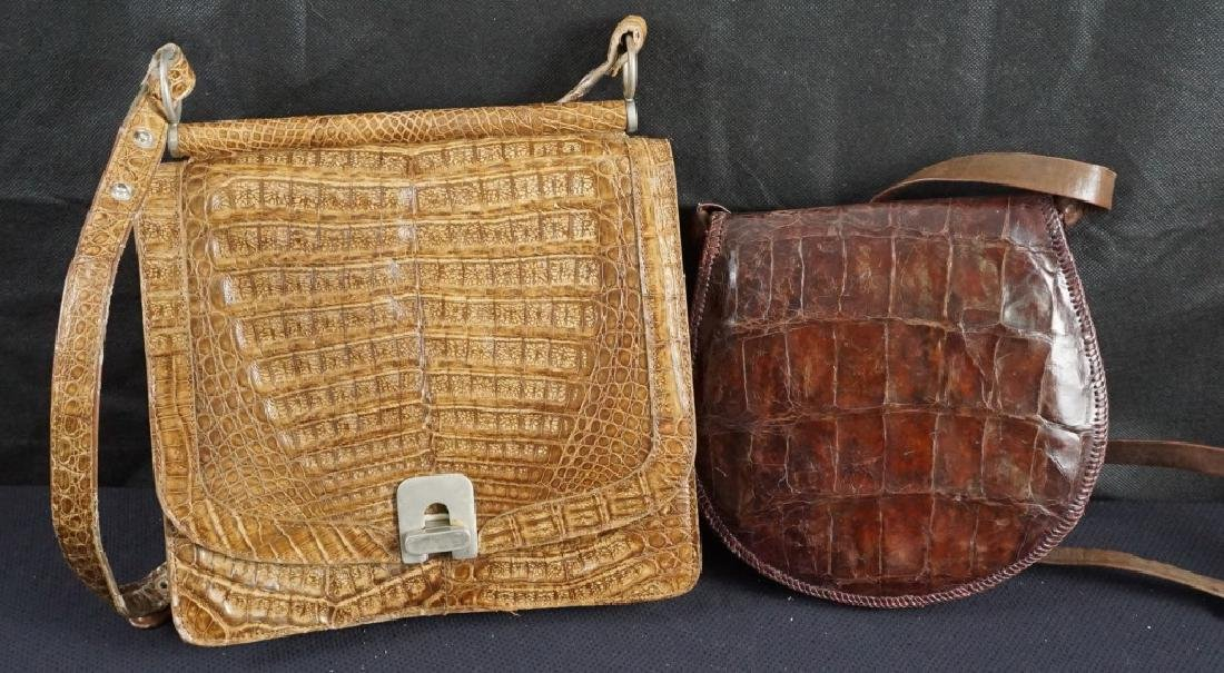 2 Leather and Alligator Purses