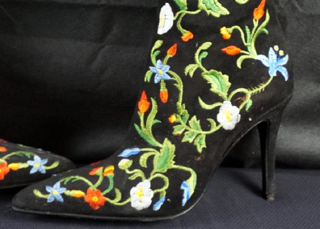 Vintage Freelance Paris Floral Embroidered Boots - 2