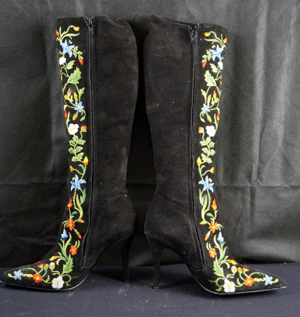 Vintage Freelance Paris Floral Embroidered Boots - 3