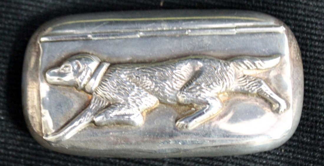 Vintage Silver CME Snuff Box Pointer Dog - 3