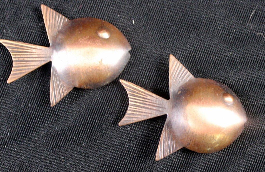 Mid Century Rebajes Double Fish Copper Pin (3) - 2