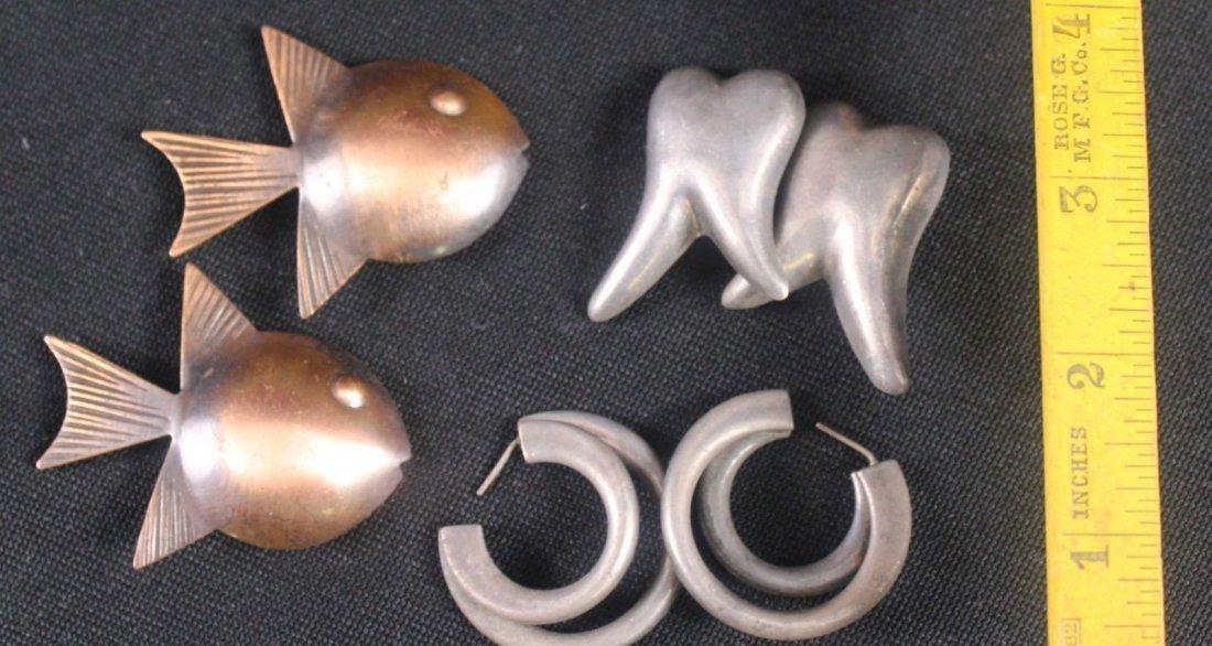Mid Century Rebajes Double Fish Copper Pin (3) - 3
