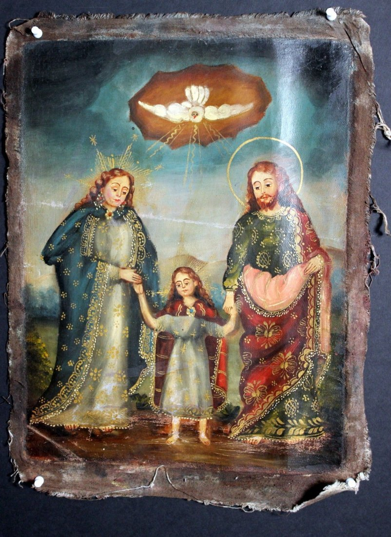 Mary Joseph Christ Child  1800's Oil Painting