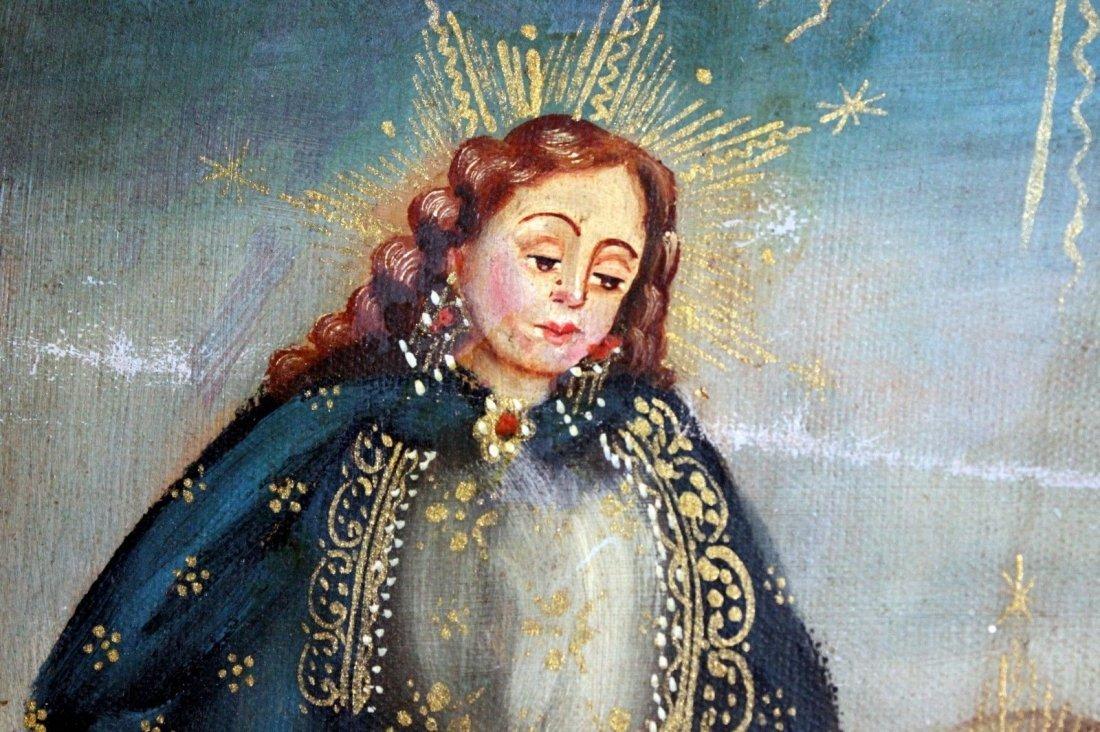 Mary Joseph Christ Child  1800's Oil Painting - 2