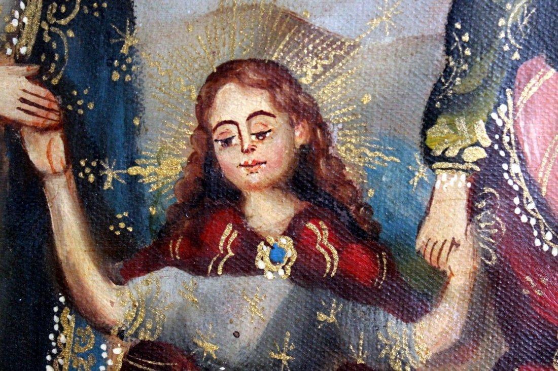 Mary Joseph Christ Child  1800's Oil Painting - 3