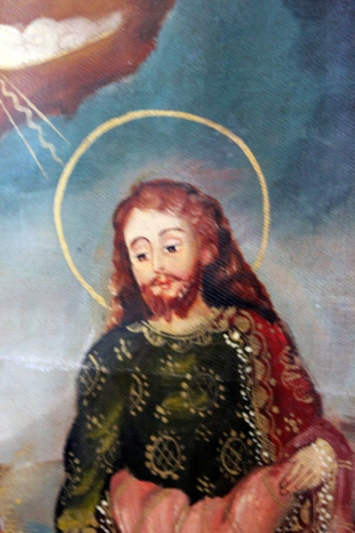 Mary Joseph Christ Child  1800's Oil Painting - 4