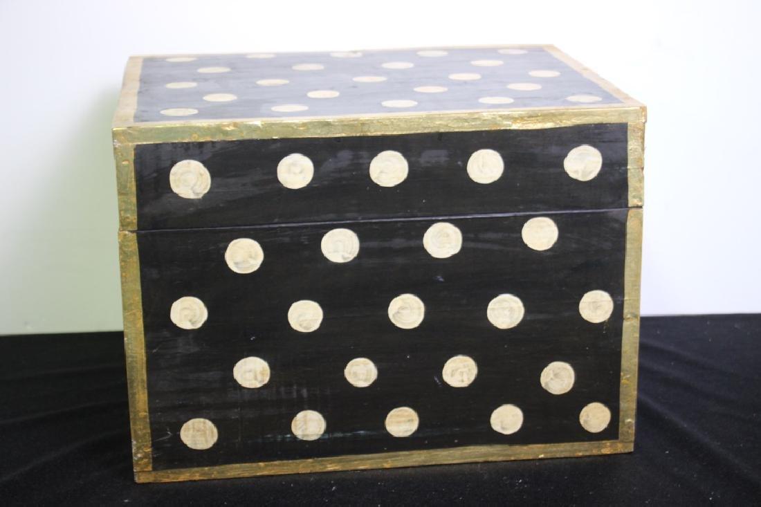 Black Wood Box w/Gold Polkdots