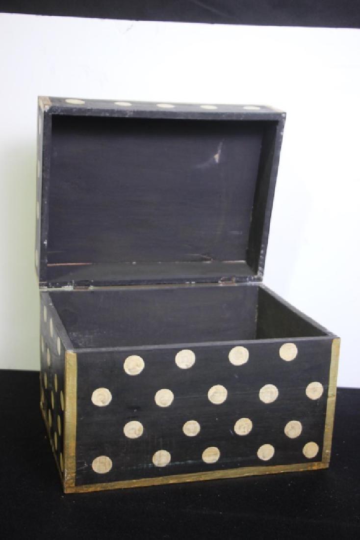 Black Wood Box w/Gold Polkdots - 2