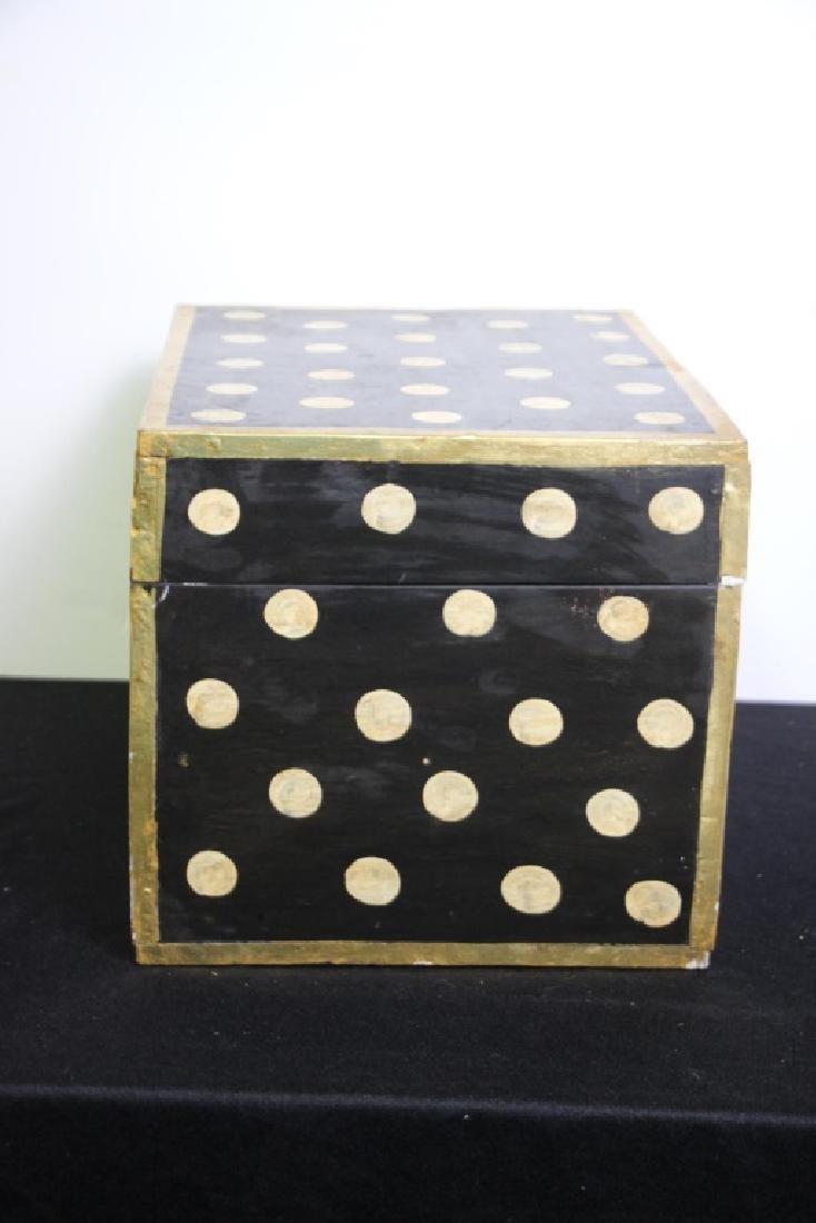 Black Wood Box w/Gold Polkdots - 3