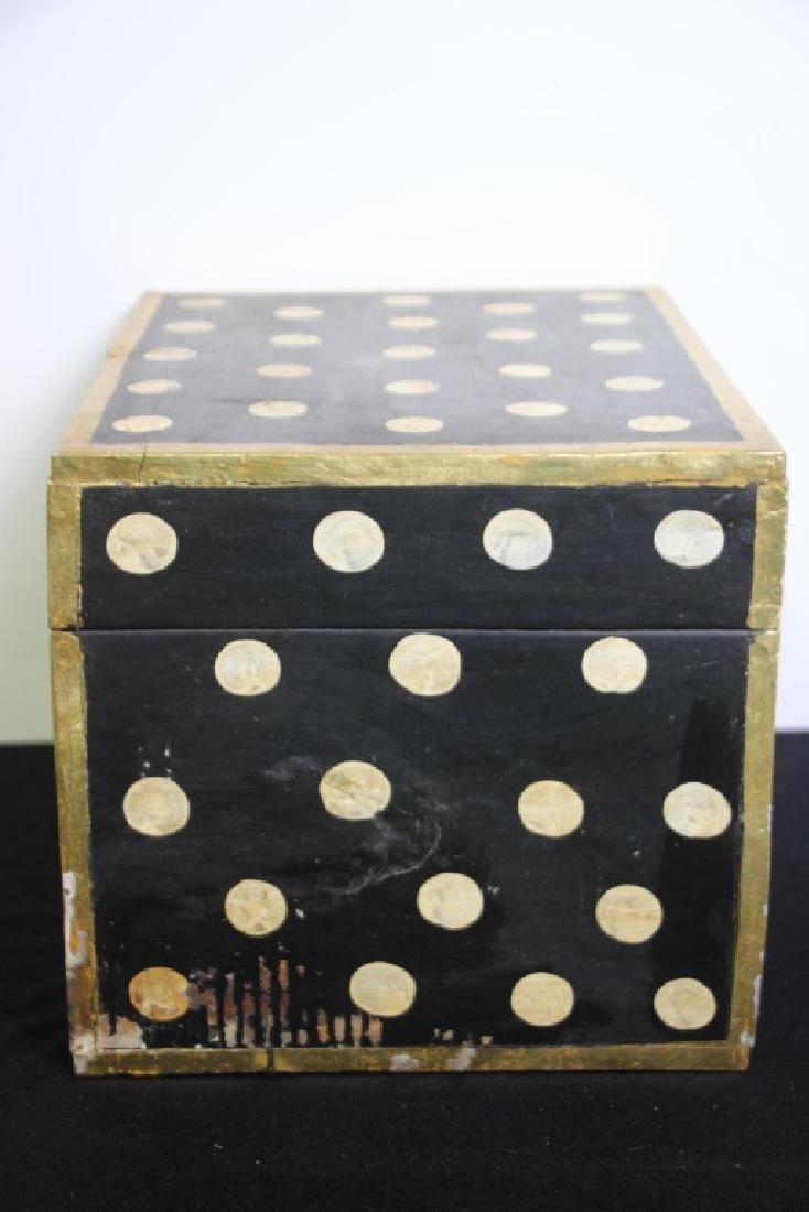 Black Wood Box w/Gold Polkdots - 5