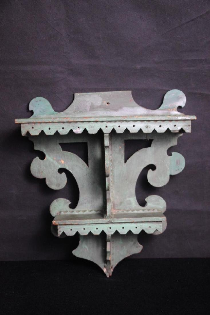 Vintage Wall Shelf Painted Green