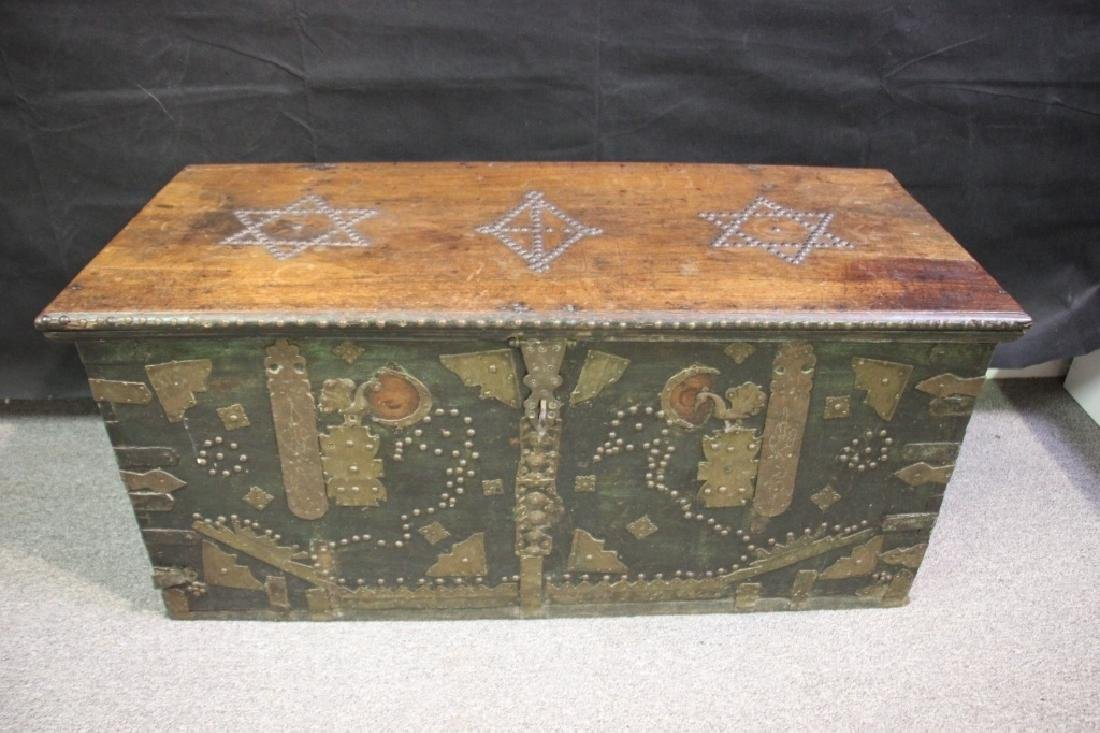Wood Chest Decorated w/Metal Overlayed Cutouts