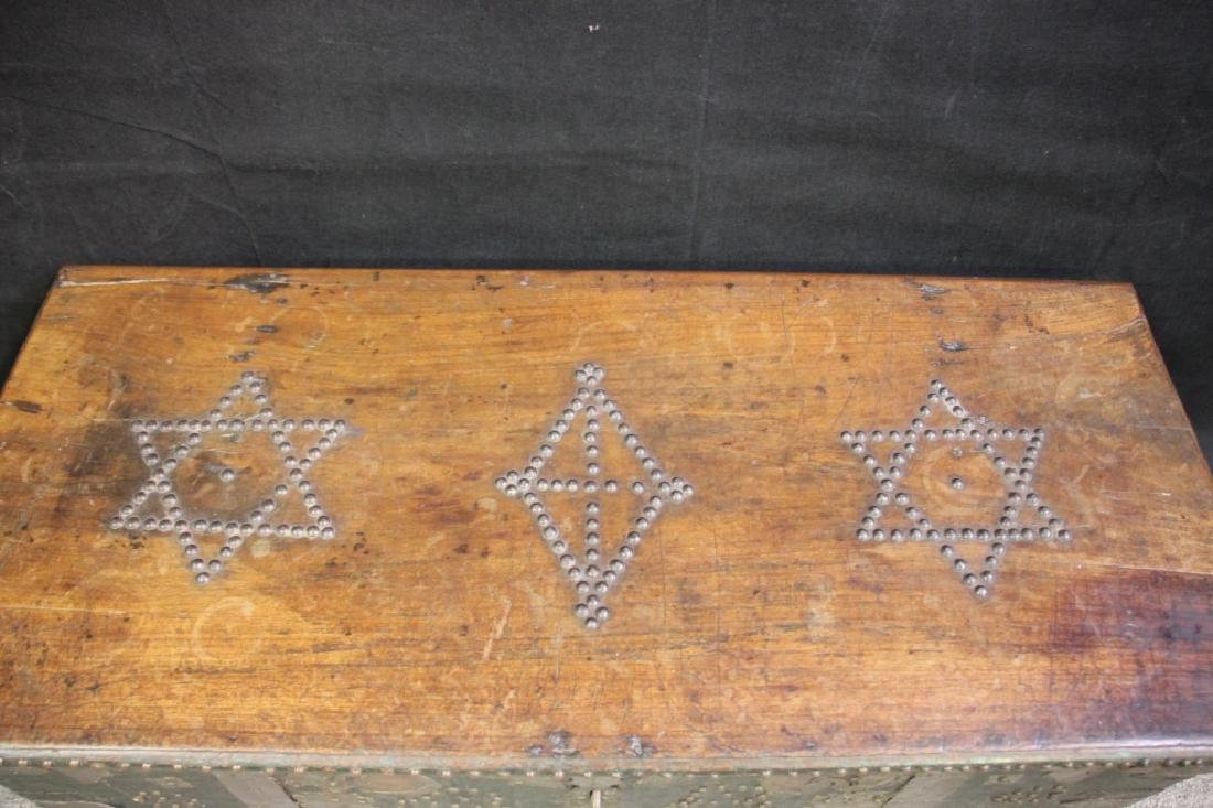 Wood Chest Decorated w/Metal Overlayed Cutouts - 2