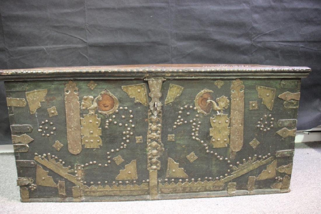 Wood Chest Decorated w/Metal Overlayed Cutouts - 3