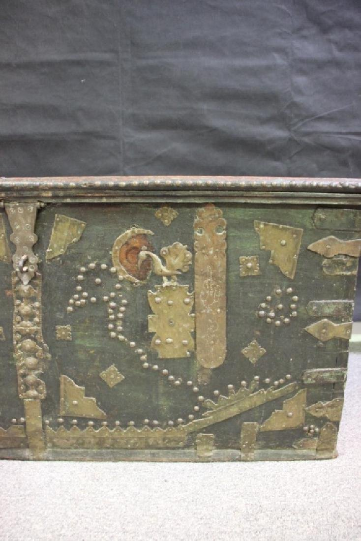 Wood Chest Decorated w/Metal Overlayed Cutouts - 5