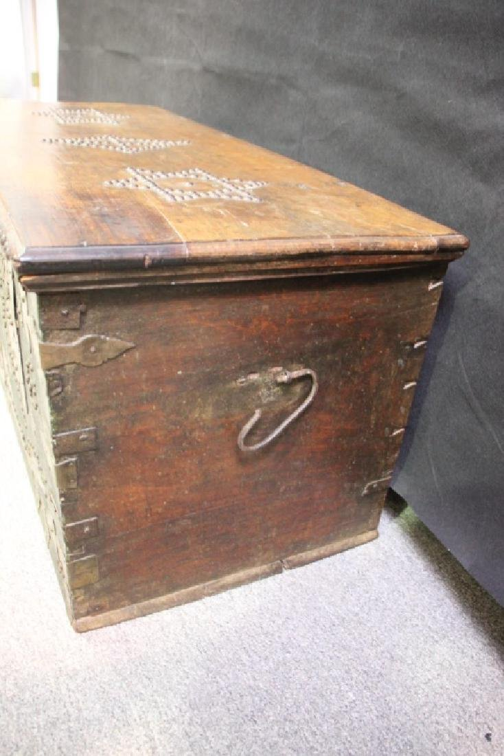 Wood Chest Decorated w/Metal Overlayed Cutouts - 6