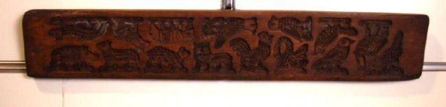 Folk Art Carved Wood German Springerle Cookie Mold